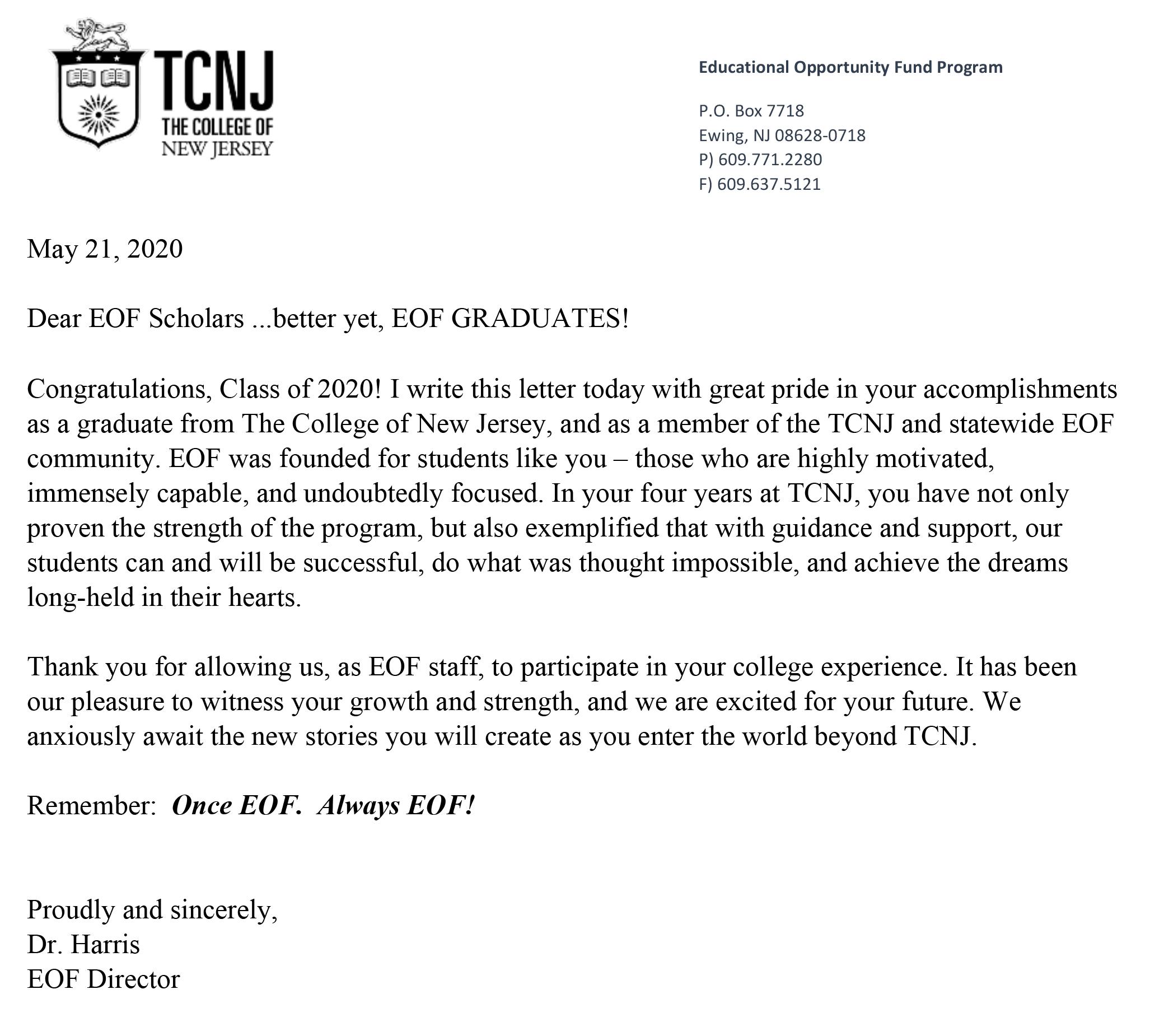 TCNJ EOF Class of 2020 | TCNJ EOF Strong